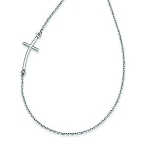 14k White Gold Large Sideways Offset Curved Cross Necklace