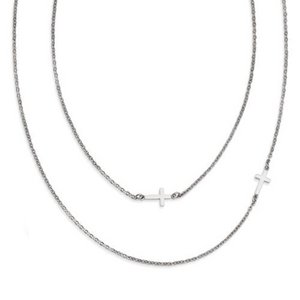 Stainless Steel Double Sideways Crosses Layered Necklace