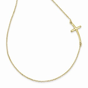 14k Large Sideways Curved Cross Necklace