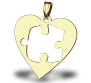 Autism Awareness Heart Cutout Puzzle Piece Pendant