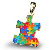 Autism Awareness Color Puzzle Piece Pendant