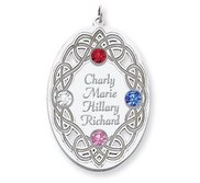 Personalized Celtic Family Pendant with 4 Names and Birthstones