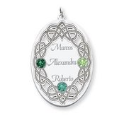 Personalized Celtic Family Pendant with 3 Names and Birthstones