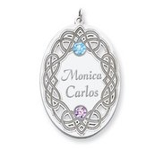 Personalized Celtic Family Pendant with Two Names and Birthstones