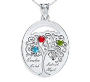 Personalized Family Tree Pendant with 4 Names and Birthstones