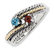 Sterling Silver   14k Two stone  Antiqued Mother s Ring