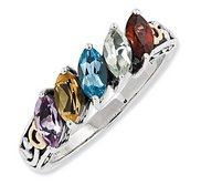 Sterling Silver   14k Five stone  Antiqued Mother s Ring