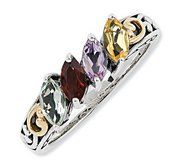 Sterling Silver   14k Four stone  Antiqued Mother s Ring