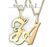 14K Yellow Gold Script Outlined Initial Pendant A Z with Box Chain