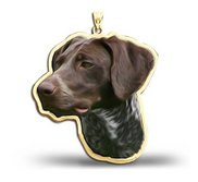 German Shorthaired Pointer Dog Color Portrait Charm or Pendant