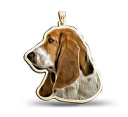 Basset Hound Dog Color Portrait Charm or Pendant