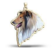 Collie Dog Color Portrait Charm or Pendant