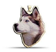 Siberian Husky Dog Color Portrait Charm or Pendant