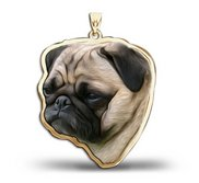 Pug Dog Color Portrait Charm or Pendant