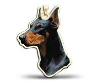 Doberman Pinscher Dog Color Portrait Charm or Pendant
