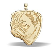 Pug Dog Portrait  Charm or Pendant