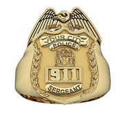 New York Police Sergeant Badge Ring with Number   Department
