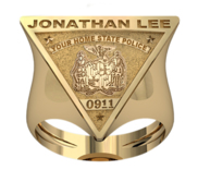 Personalized Triangle Shape State Police Badge Ring with Number   Name