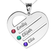 Personalized Heart Family Tree Pendant with 3 Birthstones   Names