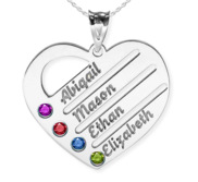 Personalized Heart Family Tree Pendant With 4 Birthstones   Names