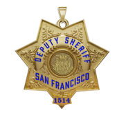 Personalized San Francisco California Sheriff Badge with Rank  Number   Dept