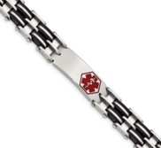Stainless Steel Black Rubber Red Enamel 8 25in Medical Bracelet
