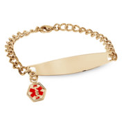 Gold Plated Stainless Steel Women s Medical ID Bracelet
