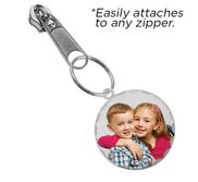 Exclusive Zipper Pull Medium Round with Diamond Cut Edge Photo Charm