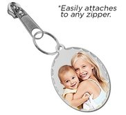 Exclusive Zipper Pull Medium Oval Pendant with Diamond Cut Edge Photo Charm