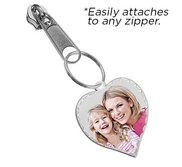 Exclusive Zipper Pull Medium Heart Photo Pendant Charm with Diamond Cut Edge