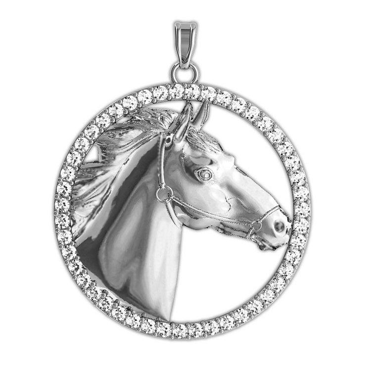 Racehorse diamond studded round horse jewelry pendant pg86728 catalog aloadofball Choice Image