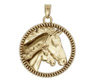 RaceHorse with Colt on a Round Rope Frame Horse Jewelry Pendant or Charm