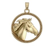 RaceHorse on a Round Rope Frame Horse Jewelry Pendant or Charm
