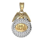 Engravable Two Tone Golf Eagle Golf Jewelry Charm or Pendant