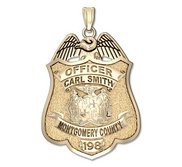 Personalized Montgomery County  Maryland Police Badge with Your Rank  Name and Badge Number