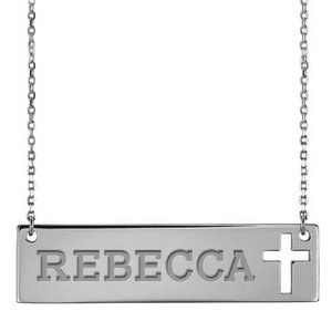 Personalized Name Bar Necklace w  Cross Design   18  Chain
