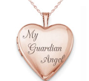 Rose Gold Plated  My Guardian Angel  Heart Photo Locket