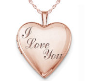 Rose Gold Plated  I Love You  Heart Photo Locket