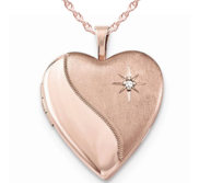 Rose Gold Plated Heart Photo Locket with Cubic Zirconia