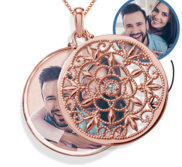 Rose Gold Swivel Round Photo Locket