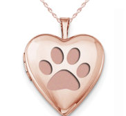 Rose Gold Plated  Dog Paw Print  Heart Photo Locket