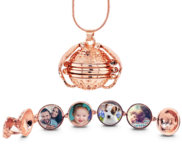 Rose Gold Plated Expandable 4 Photo Ball Locket with Chain
