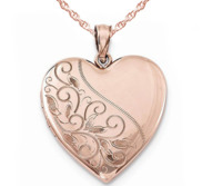 Rose Gold Plated Floral Heart Photo Locket