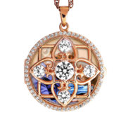 Rose Gold Round Photo Locket with Cubic Zirconias with Chain Included
