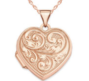 14k Rose Gold Floral Heart Photo Locket
