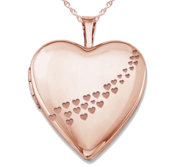 Rose Gold Plated  Casscade of hearts  Heart Photo Locket