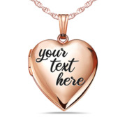 Rose Gold Plated Fancy Script Heart Photo Locket