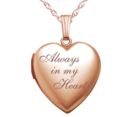 14k Rose Gold Always In My Heart Photo Locket