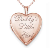 Rose Gold Plated  Daddy s Little Girl  Heart Photo Locket