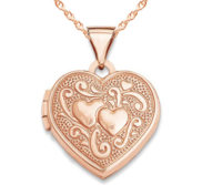 14k Rose Gold Double Heart Photo Locket